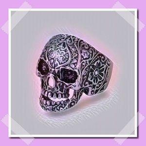 Stainless Steel Biker Inspired Ornate Skull Ring